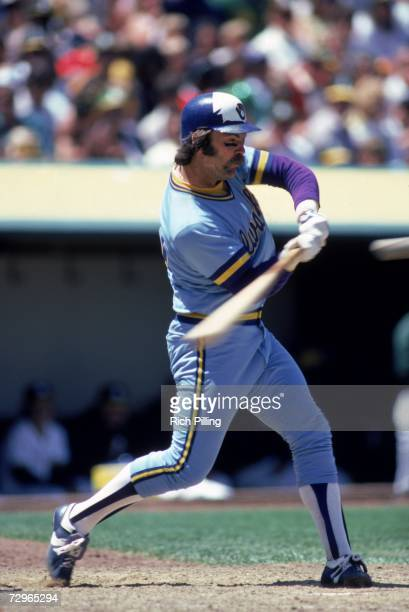 Gorman Thomas of the Milwaukee Brewers swings the ball during a game in 1982 against the Oakland Athletics at the OaklandAlameda County Coliseum in...