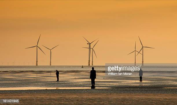 CONTENT] Gormleys 'Another Place' ironmen at Crosby beach along with a photographer at sunset Windturbines in the background