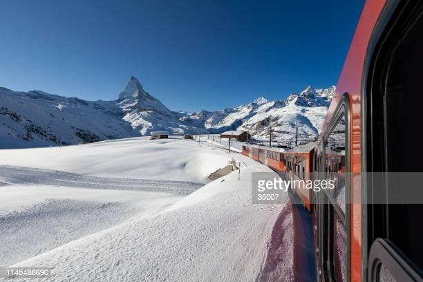 gornergrat railway in the swiss alps, matterhorn mountain, zermatt switzerland - zermatt stock pictures, royalty-free photos & images