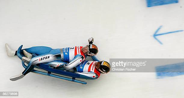 Goro Hayashibe and Masaki Toshiro of Japan crashes during the mens double Viessmann Luge World Cup on November 27 2005 in Altenberg near Dresden...