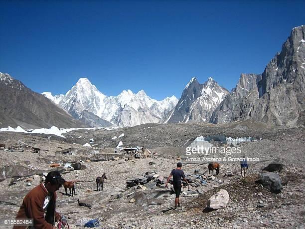 Goro II campsite in Baltoro glacier, Karakorum range, Pakistan