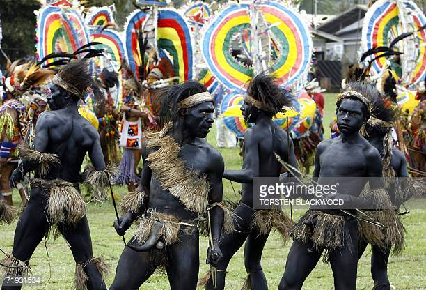 Waikondo dancers covered in charcoal from Simbu perfom in front of Rainbow Gahisi dancers during the 50th Goroka singsing in what is believed to be...