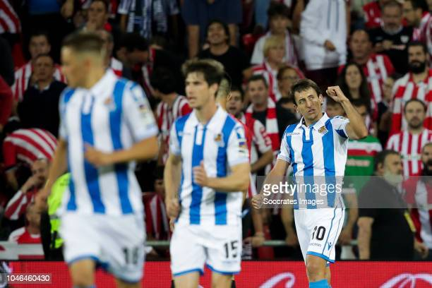 Gorosabel of Real Sociedad Aritz Elustondo of Real Sociedad Mikel Oyarzabal of Real Sociedad during the La Liga Santander match between Athletic de...