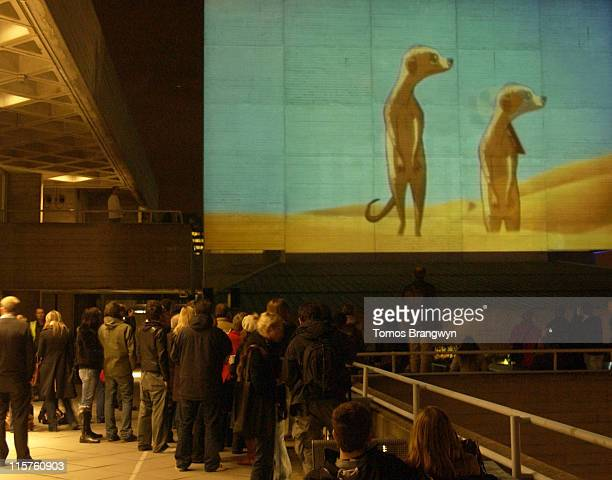 Gorrilaz video display during Projection of the Band Gorillaz Onto the British National Theatre in London March 24 2006 at The National Theatre in...
