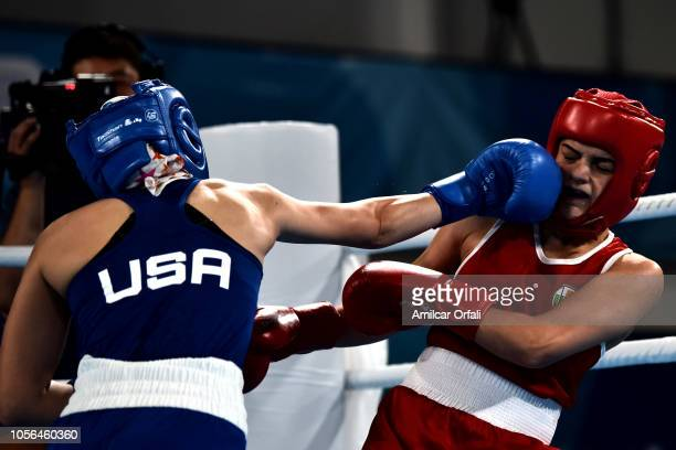 Goryana Stoeva of Bulgaria and Heaven Destiny Garcia of united States fight in Women's Fly Bronze Medal Bout during day 12 of Buenos Aires 2018 Youth...