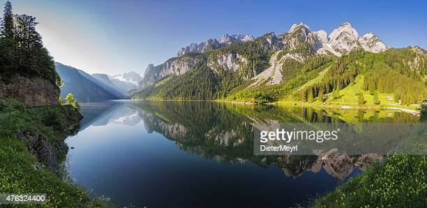 gosausee with glacier dachstein in back - nature reserve austria - austria stock pictures, royalty-free photos & images