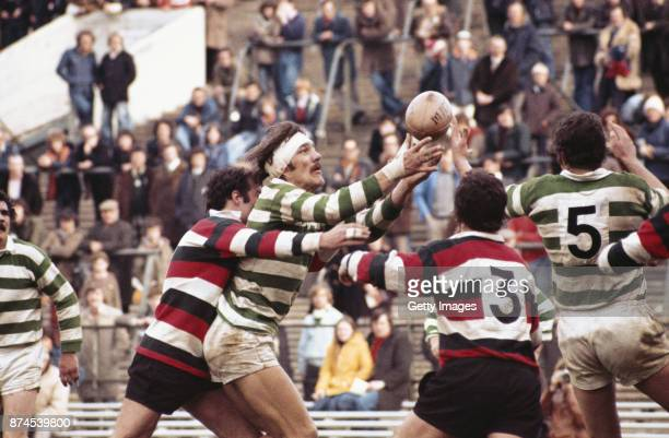 Gosforth captain Roger Uttley wins a lineout ball during the 1977 John Player Cup Final against Waterloo at Twickenham on April 16 1977 in London...