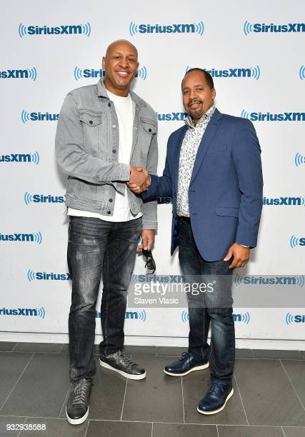 Gospel and contemporary Christian music singer Brian Courtney Wilson and musician Michael White visit SiriusXM Studios on March 16 2018 in New York...