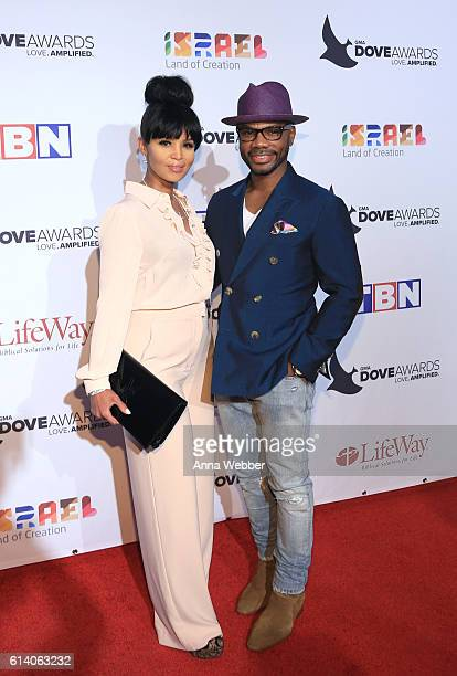Gospel artist Kirk Franklin and wife Tammy Collins arrive at the 2016 Dove Awards at Allen Arena Lipscomb University on October 11 2016 in Nashville...