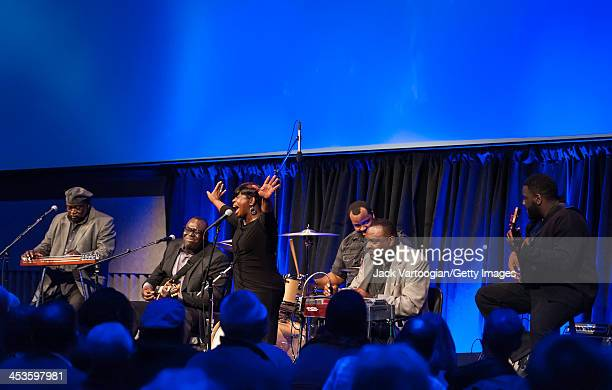 Gospel band The Campbell Brothers with brothers Daric Campbell on lap steel guitar and vocals Phil Campbell on guitar Chuck Campbell on pedal steel...