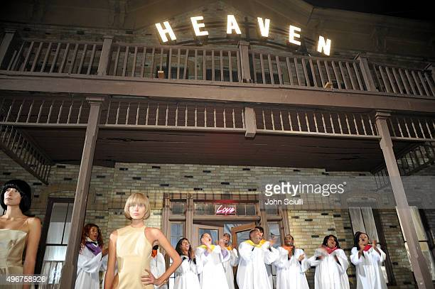 A gospel choir performs at the August Getty Atelier SS 2016 'The Thread Of Man' presentation with David LaChapelle at Universal Studios Hollywood on...