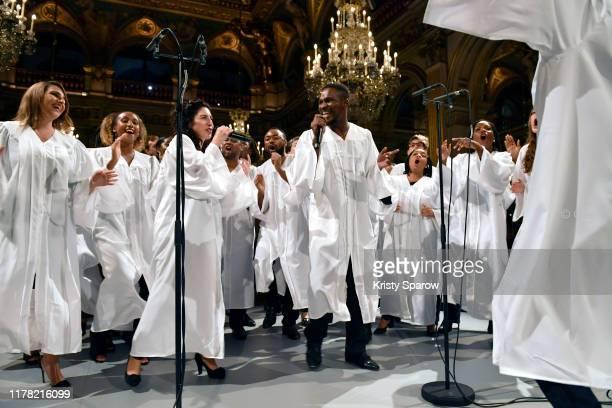 Gospel choir performs during the #BoF500 gala during Paris Fashion Week Spring/Summer 2020 at Hotel de Ville on September 30, 2019 in Paris, France.