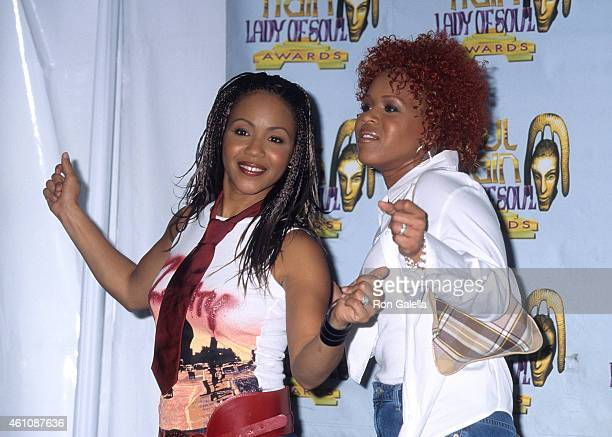Gospel duo Mary Mary attend the Seventh Annual Soul Train Lady of Soul Awards on August 28 2001 at the Santa Monica Civic Auditorium in Santa Monica...