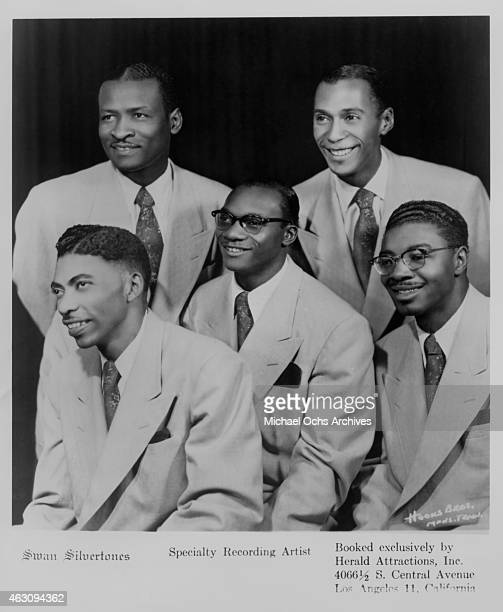 Gospel group The 'Swan Silvertones' John Myles and Paul Owens Claude Jeter Dewey Young and Henry Brossard pose for a Specialty Records publicity...