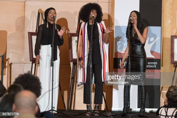 Gospel group V3 perform on stage during the 2017 Black Women Film Summit Untold Stories awards luncheon at Atlanta Marriott Marquis on March 3 2017...