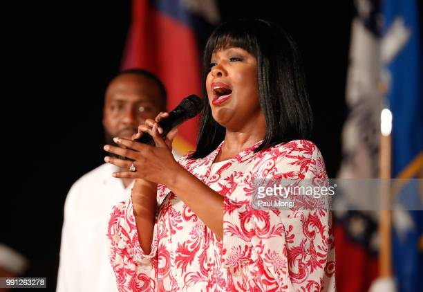 Gospel legend CeCe Winans performs at the 2018 A Capitol Fourth rehearsals at US Capitol West Lawn on July 3 2018 in Washington DC