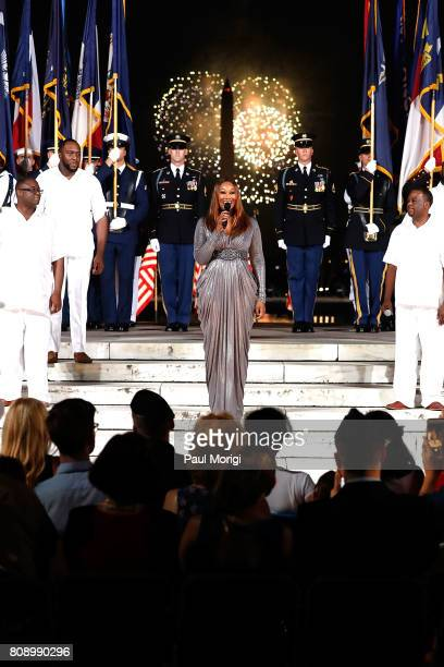 Gospel legend Yolanda Adams performs during the fireworks finale at A Capitol Fourth at US Capitol West Lawn on July 4 2017 in Washington DC