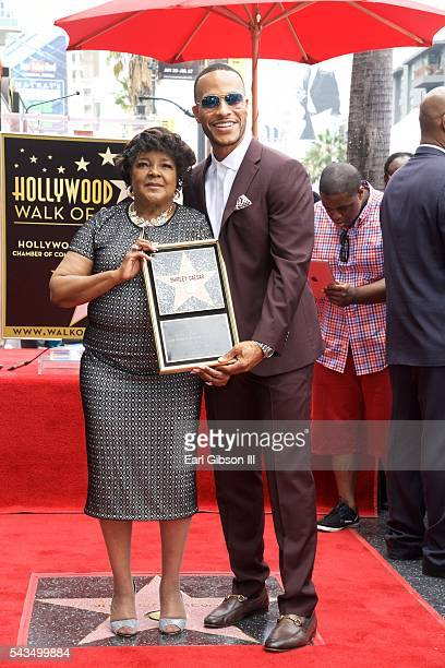 Gospel Recording Artist Shirley Caesar and Author/Film Producer DeVon Franklin pose for a photo as Shirley Caesar is honored with a Star On The...