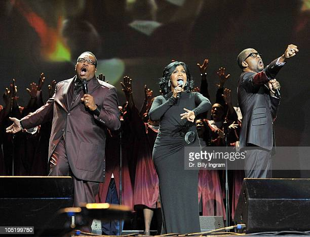 Gospel recording artists Marvin Sapp CeCe Winans and Donald Lawrence perform at Verizon's How Sweet the Sound at Staples Center on October 11 2010 in...