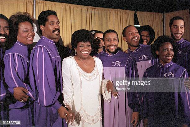 Gospel singer Albertina Walker performs with her Pentecostal Community Choir at the 1984 Grammy Awards