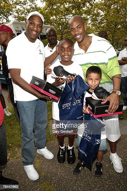 Gospel Singer and Pastor Donnie McClurkin and Pro Basketball Player Stephon Marbury with Aaron Jean and John Nunez at The New York Call and Youth...
