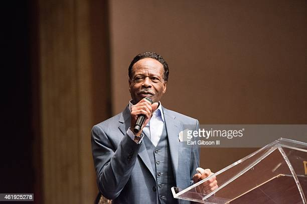 Gospel Singer Edwin Hawkins speaks at the Andrae Crouch Memorial Celebration Of Life Event at West Angeles Church of God And Christ on January 21...