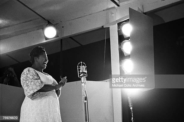 Gospel singer Mahalia Jackson performs at the American Jazz Festival in July 1958 in Newport Rhode Island