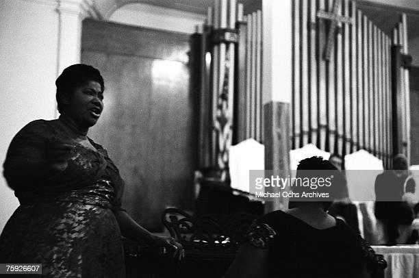 Gospel singer Mahalia Jackson performs in a church the weekend of the American Jazz Festival in July 1958 in Newport Rhode Island