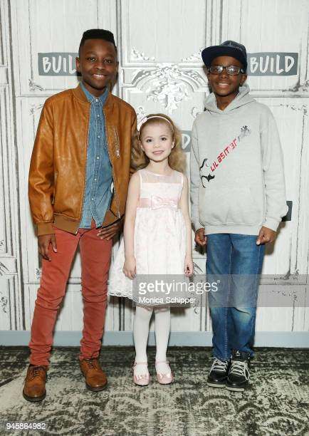 Gospel singer Miles Caton author Ariana Jalia and bass player Lil Asmar visit Build Studio to discuss the television show 'Little Big Shots' on April...