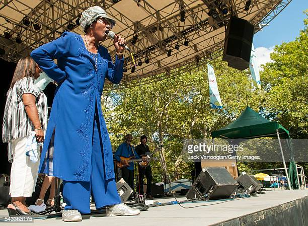 Gospel singer Naomi Shelton peforms with the Gospel Queens onstage at Central Park SummerStage New York New York August 17 2008