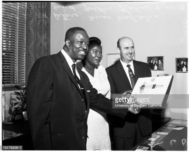 Gospel singer proclamation 24 July 1958 Doctor AA PetersMiss Mahalia JacksonGordon HahnCaption slip reads 'Photographer Mitchell Date Assignment...