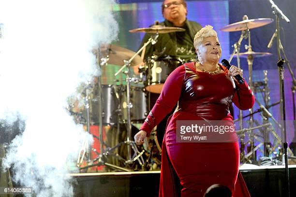 Gospel singer Tamela Mann performs onstage during the 2016 Dove Awards at Allen Arena Lipscomb University on October 11 2016 in Nashville Tennessee