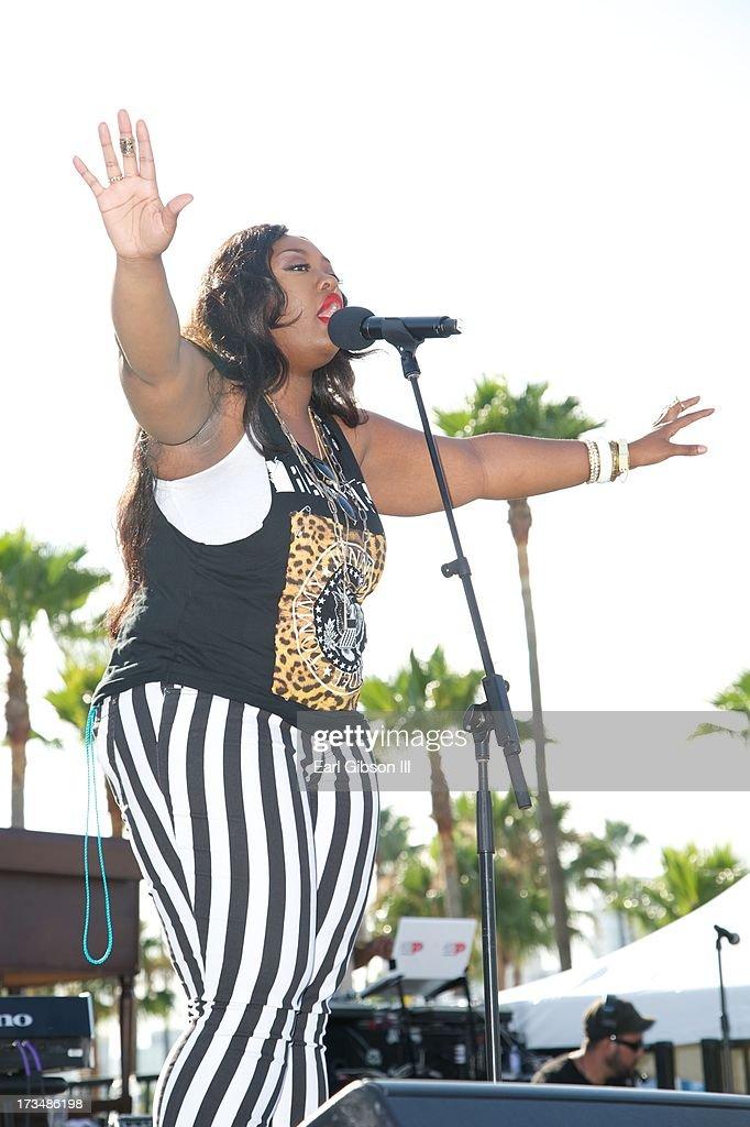 Gospel Singer Vadia performs at the Long Beach Gospel Fest at Marina Green Park on July 14, 2013 in Long Beach, California.