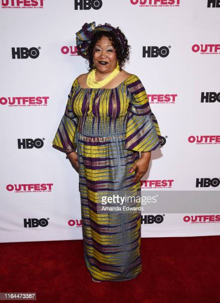 Gospel singer Valeria Scott arrives at the 2019 Outfest Los Angeles LGBTQ Film Festival Screening of Gay Chrous Deep South at the Ford Theatre on...