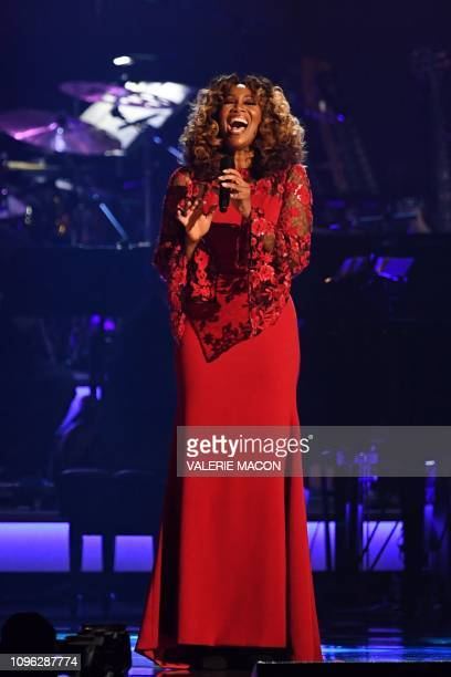 US gospel singer Yolanda Adams performs onstage at the 2019 MusiCares Person Of The Year gala at the Los Angeles Convention Center in Los Angeles on...