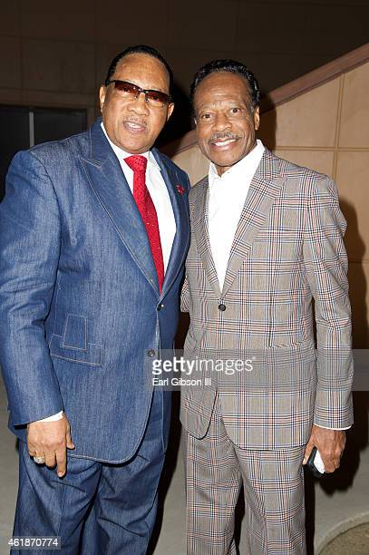Gospel Singers Dr Bobby Jones and Edwin Hawkins attend the Andrae Crouch Memorial Celebration Of Life at West Angeles Church of God And Christ on...
