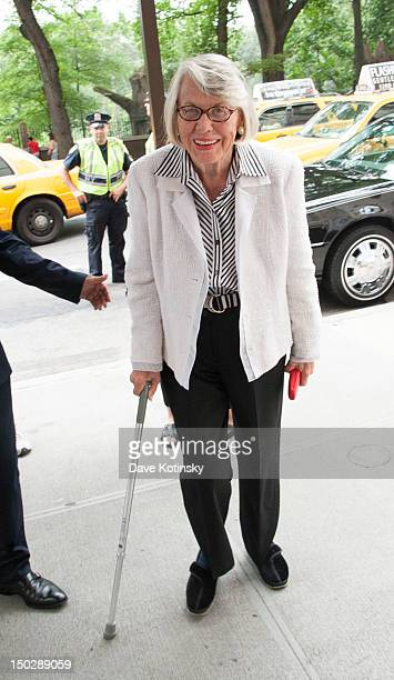 Gossip columnist Liz Smith arrives at the funeral service for Marvin Hamlisch at Temple EmanuEl on August 14 2012 in New York City Hamlisch died in...