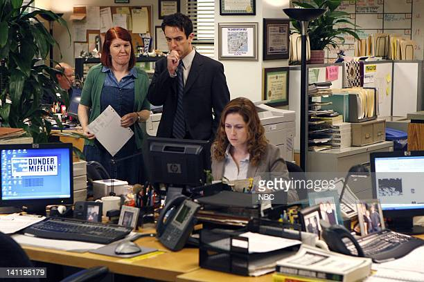 """Gossip"""" Episode 601 -- Pictured: Kate Flannery as Meredith Palmer, B.J. Novak as Ryan Howard, Jenna Fischer as Pam Beesly -- Photo by: Chris..."""