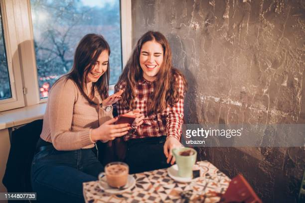 gossip girls - downtown comedy duo stock pictures, royalty-free photos & images