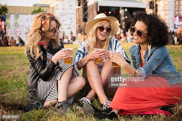gossips during the summer festival. rzeszow, poland - music festival ストックフォトと画像
