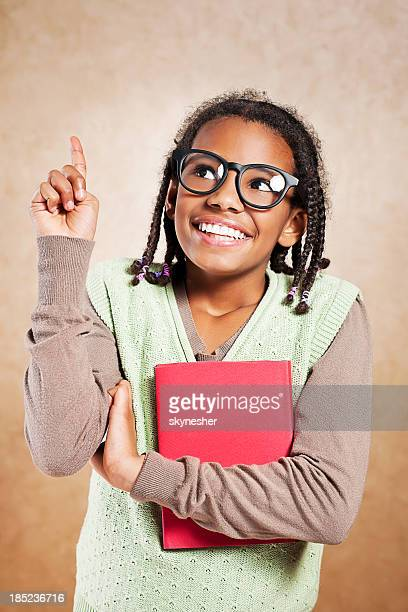 i got idea! - girl nerd hairstyles stock photos and pictures