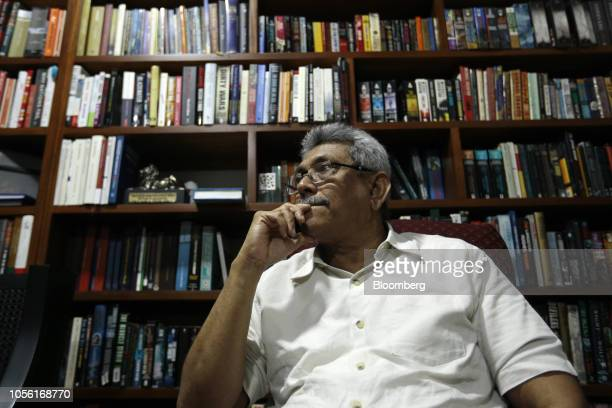 Gotabaya Rajapaksa Sri Lanka's former secretary of defense listens during an interview at his home in Colombo Sri Lanka on Wednesday Oct 31 2018 In a...