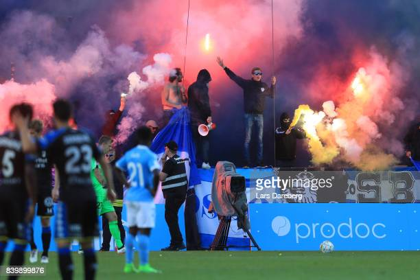Goteborg fans during the Allsvenskan match between Malmo FF and IFK Goteborg at Swedbank Stadion on August 27 2017 in Malmo Sweden