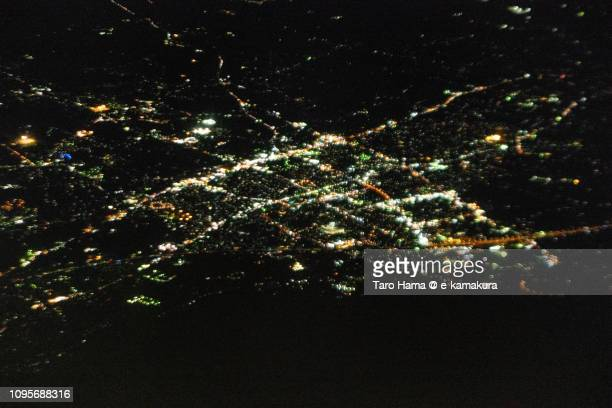 Gotemba city in Shizuoka prefecture in Japan night time aerial view from airplane