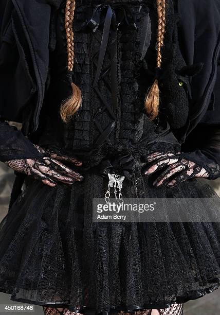 Goth enthusiast poses during the annual WaveGotikTreffen music festival on June 6 2014 in Leipzig Germany The event began in the 1990s and has since...