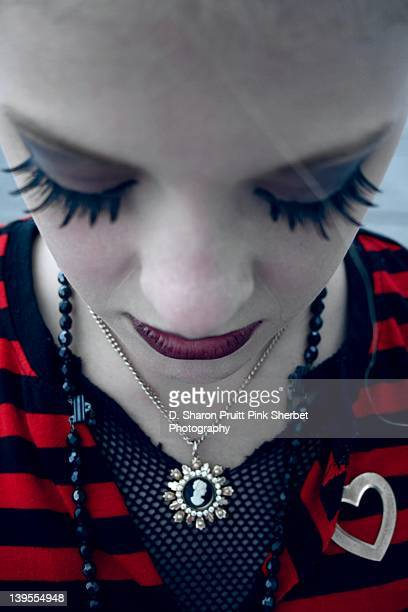 Goth girl looking down