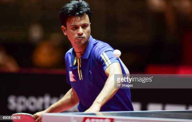 """Gothe Shiva of Nepal""""n in action during the Table Tennis World Championship at Messe Duesseldorf on May 29, 2017 in Dusseldorf, Germany."""
