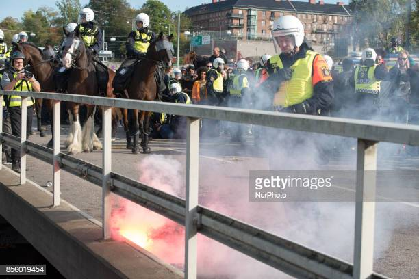 Gothenburg police clash with antifascist protesters as members of the Nordic Resistance Front attempt to march through the city center on September...