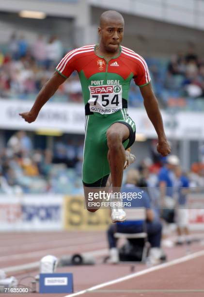 Portuguese Nelson Evora competes during the Men's triple Jump final at the 19th European Athletics Championships in Gothenburg Sweden 12 August 2006...