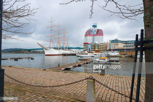 Gothenburg Sweden - sailing ship Viking and the Lipstick tower Skanskaskrapan